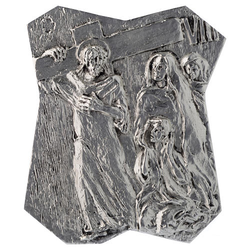 Via Crucis silver-plated brass 14 stations, 22x18cm 8