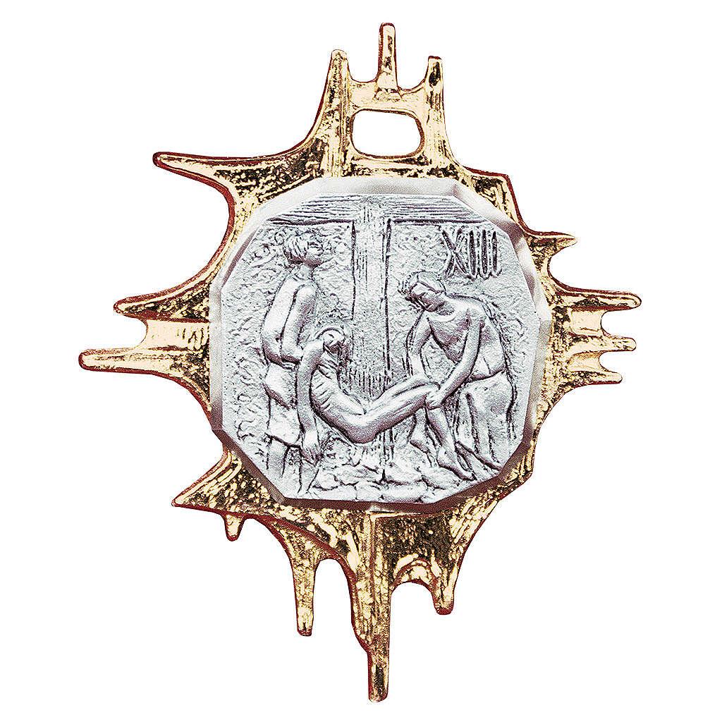 Chemin croix laiton cadre 18x15 plaque 9x9 cm - 15 stations 4
