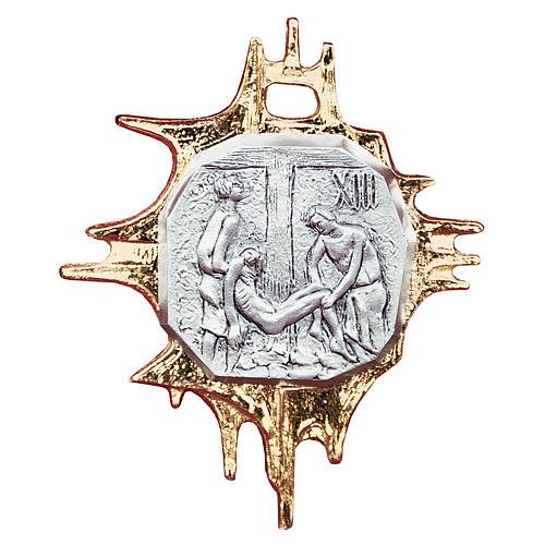 Chemin croix laiton cadre 18x15 plaque 9x9 cm - 15 stations 1