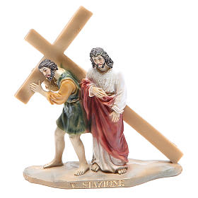 Chemin de croix 14 scènes en résine h 8-10 cm s5