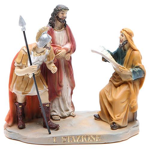 Chemin de croix 14 scènes en résine h 8-10 cm 1