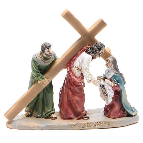 Chemin de croix 14 scènes en résine h 8-10 cm 6
