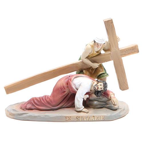 Chemin de croix 14 scènes en résine h 8-10 cm 9