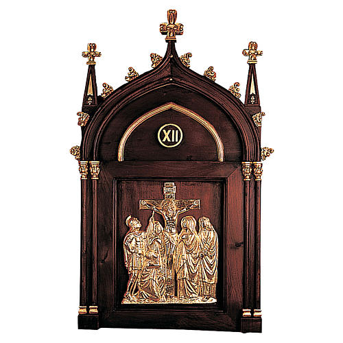 Via Crucis 14 stazioni legno intagliato mano disegno gotico Molina 1