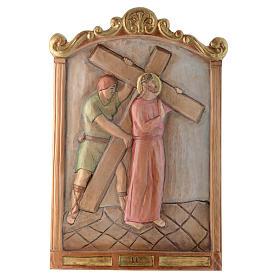 Vía Cruz 15 estaciones relieve madera pintada s2