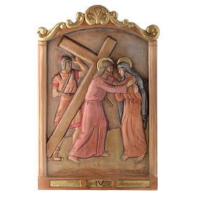Vía Cruz 15 estaciones relieve madera pintada s4
