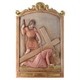 Vía Cruz 15 estaciones relieve madera pintada s7