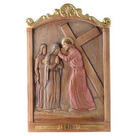 Vía Cruz 15 estaciones relieve madera pintada s8