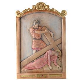 Vía Cruz 15 estaciones relieve madera pintada s9