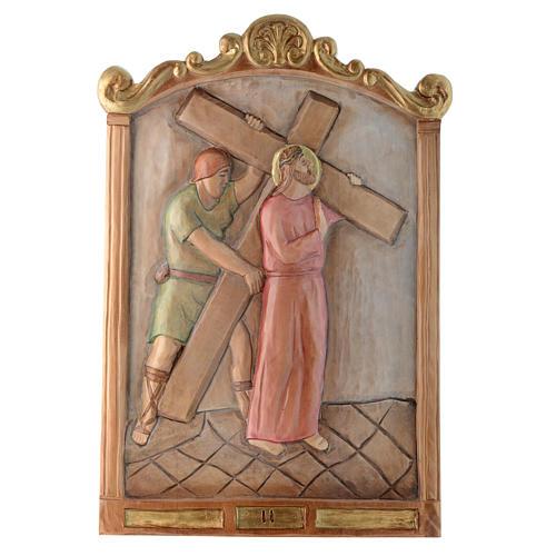 Vía Cruz 15 estaciones relieve madera pintada 2