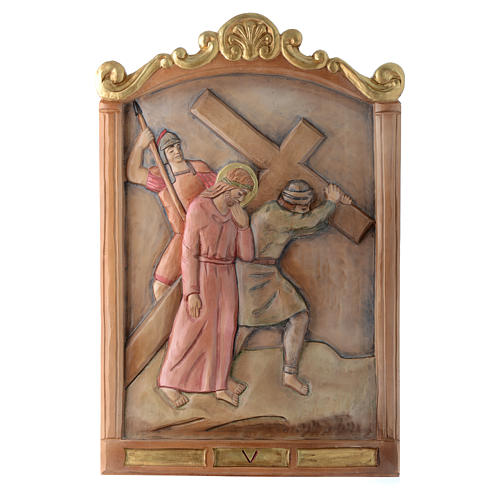 Vía Cruz 15 estaciones relieve madera pintada 5