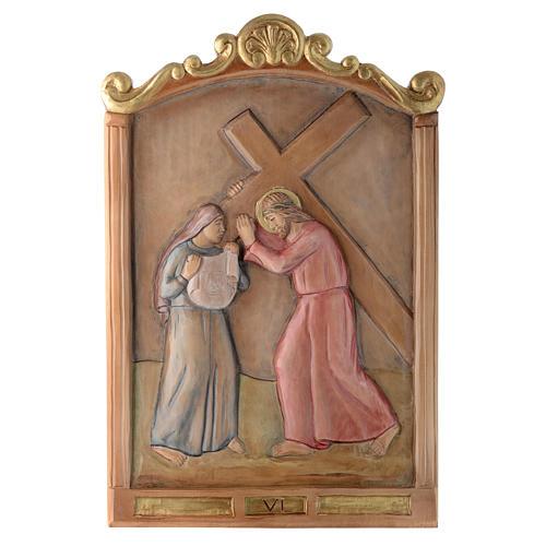Vía Cruz 15 estaciones relieve madera pintada 6