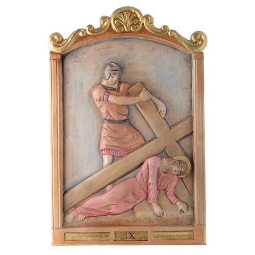 Vía Cruz 15 estaciones relieve madera pintada 9