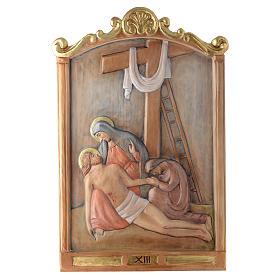 Via Crucis 15 Stazioni in rilievo legno colorato s13