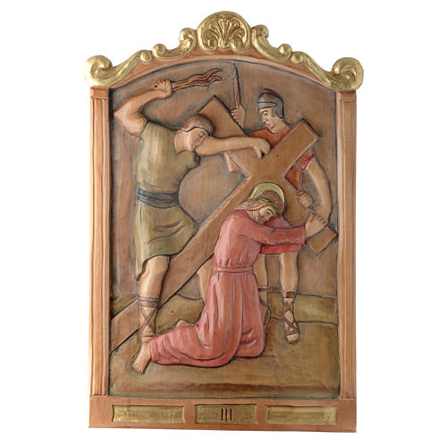 Via Crucis 15 Stazioni in rilievo legno colorato 3