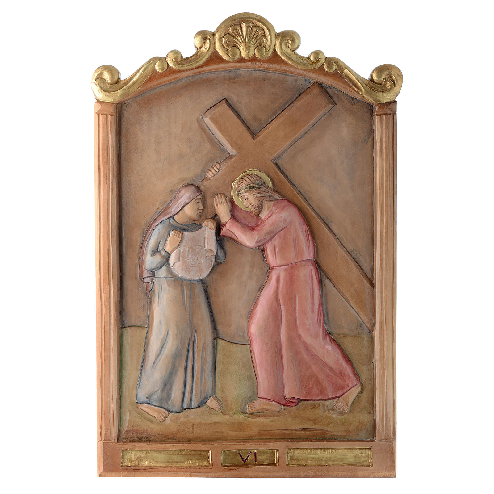 Stations of the Cross wooden relief, painted 4