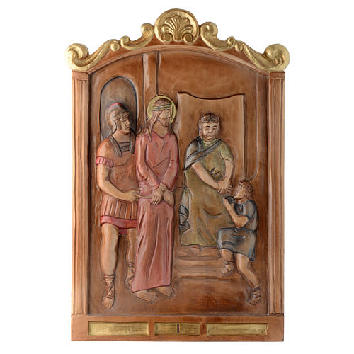 Stations of the Cross wooden relief, painted 1