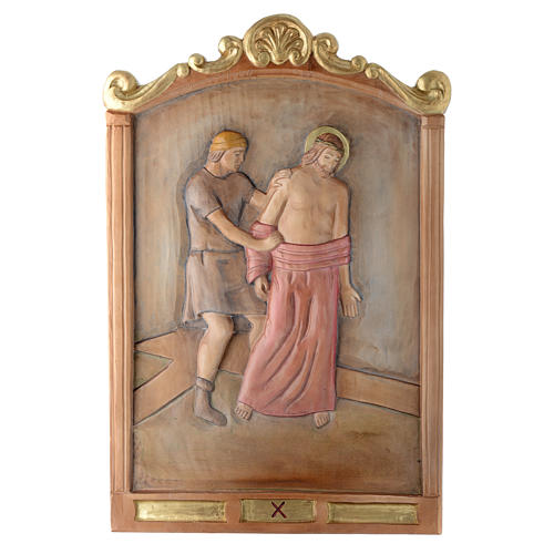Stations of the Cross wooden relief, painted 10