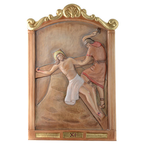 Stations of the Cross wooden relief, painted 11