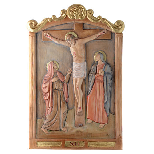 Stations of the Cross wooden relief, painted 12
