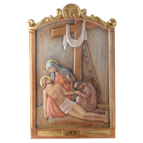 Stations of the Cross wooden relief, painted 13