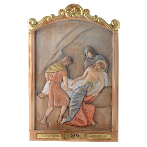 Stations of the Cross wooden relief, painted 14
