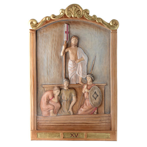 Stations of the Cross wooden relief, painted 15