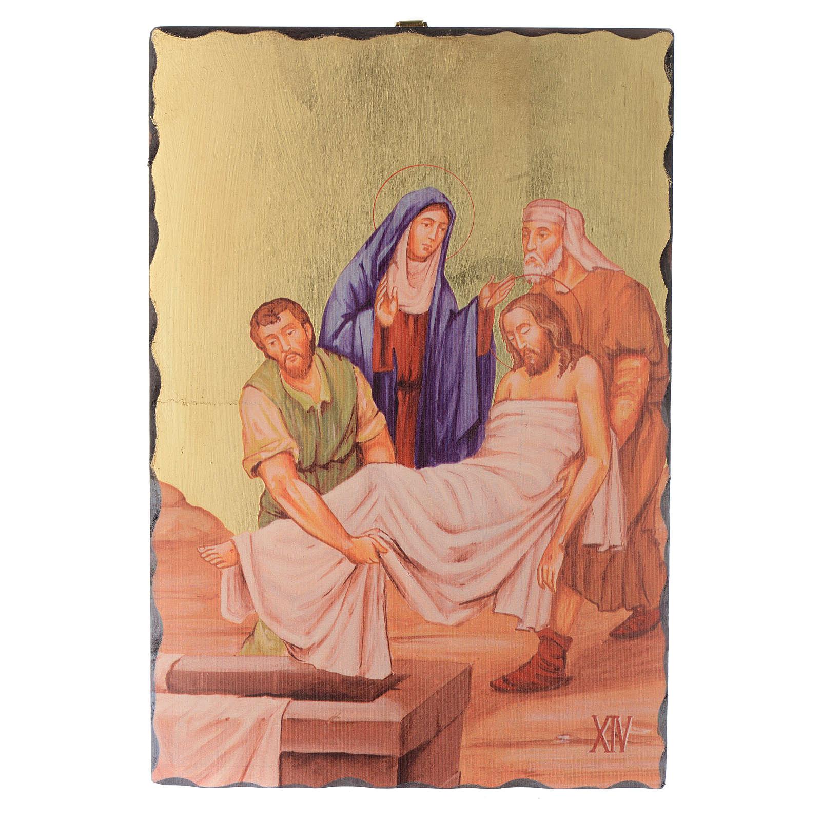 Kreuzweg Siebdruck Täfeln 30x20cm Holz 4