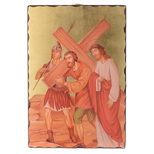 Kreuzweg Siebdruck Täfeln 30x20cm Holz 5