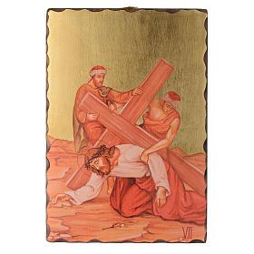 Via crucis paintings serigraphed in wood 30x20 cm s7