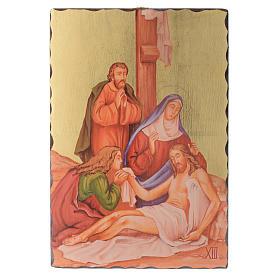 Via crucis paintings serigraphed in wood 30x20 cm s13