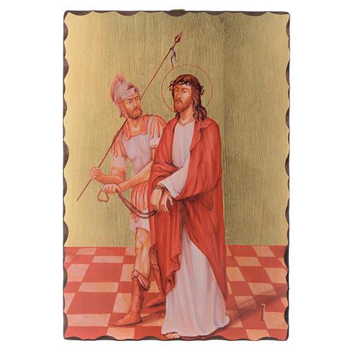 Via crucis paintings serigraphed in wood 30x20 cm 1