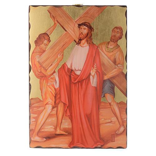 Via crucis paintings serigraphed in wood 30x20 cm 2