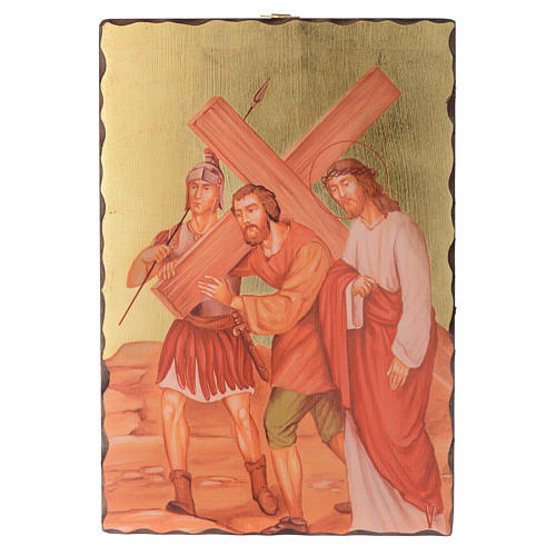 Via crucis paintings serigraphed in wood 30x20 cm 5