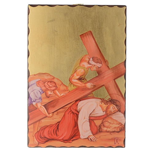 Via crucis paintings serigraphed in wood 30x20 cm 9