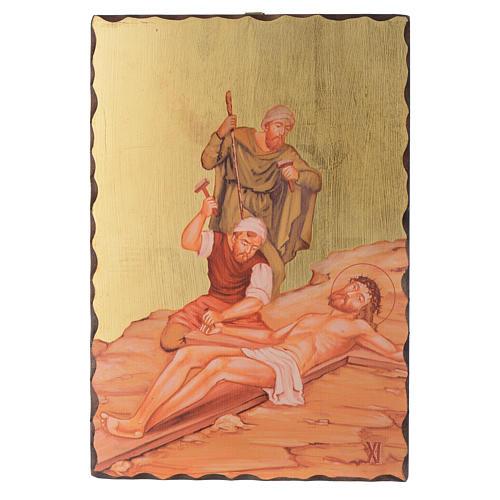 Via crucis paintings serigraphed in wood 30x20 cm 11
