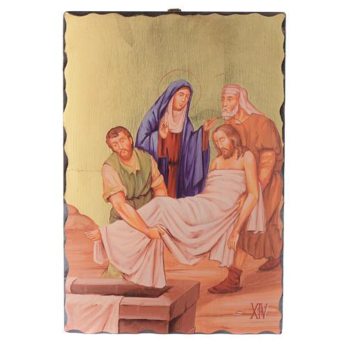 Via crucis paintings serigraphed in wood 30x20 cm 14