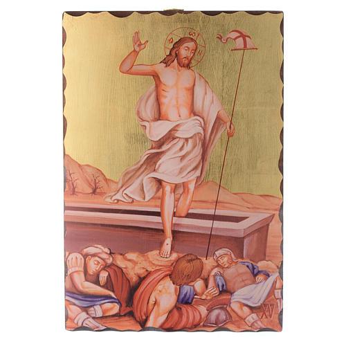 Via crucis paintings serigraphed in wood 30x20 cm 15