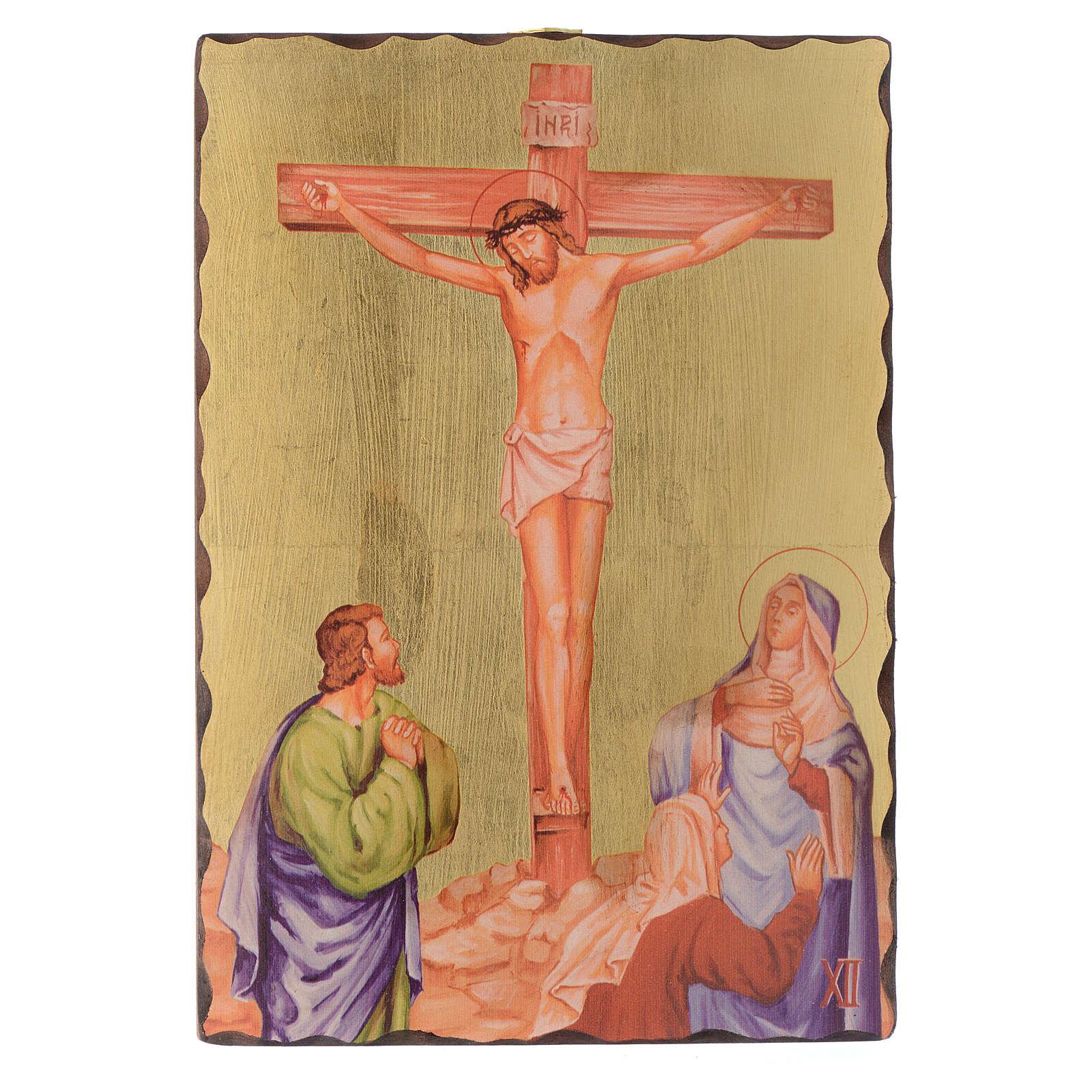 Via crucis paintings serigraphed in wood 30x20 cm 4