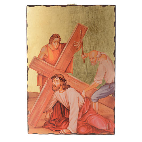 Via crucis paintings serigraphed in wood 30x20 cm 3