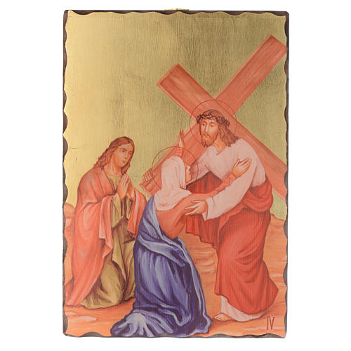Via crucis paintings serigraphed in wood 30x20 cm 4