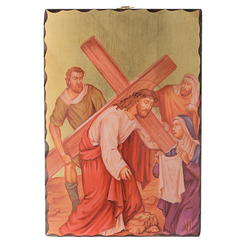 Via crucis paintings serigraphed in wood 30x20 cm 6