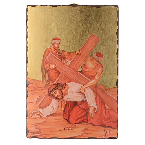 Via crucis paintings serigraphed in wood 30x20 cm 7