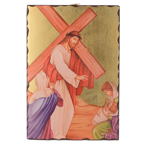 Via crucis paintings serigraphed in wood 30x20 cm 8