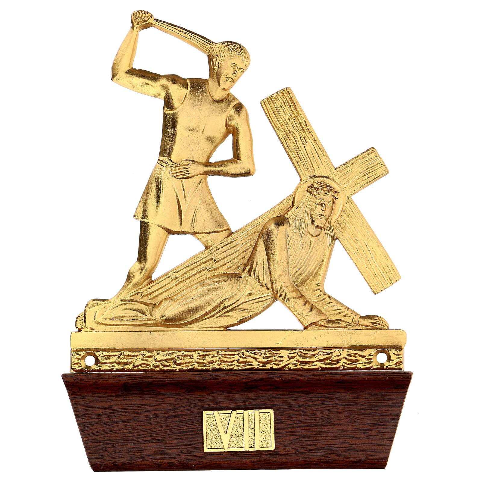 Vía Crucis 14 estaciones latón fundido 22x15 cm 4
