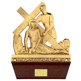 Vía Crucis 14 estaciones latón fundido 22x15 cm s3