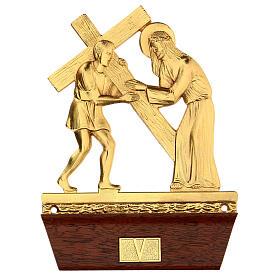Vía Crucis 14 estaciones latón fundido 22x15 cm s5