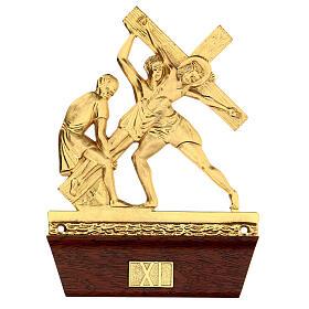 Vía Crucis 14 estaciones latón fundido 22x15 cm s11