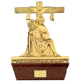 Vía Crucis 14 estaciones latón fundido 22x15 cm s13