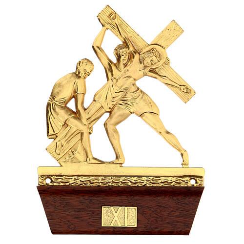 Vía Crucis 14 estaciones latón fundido 22x15 cm 11